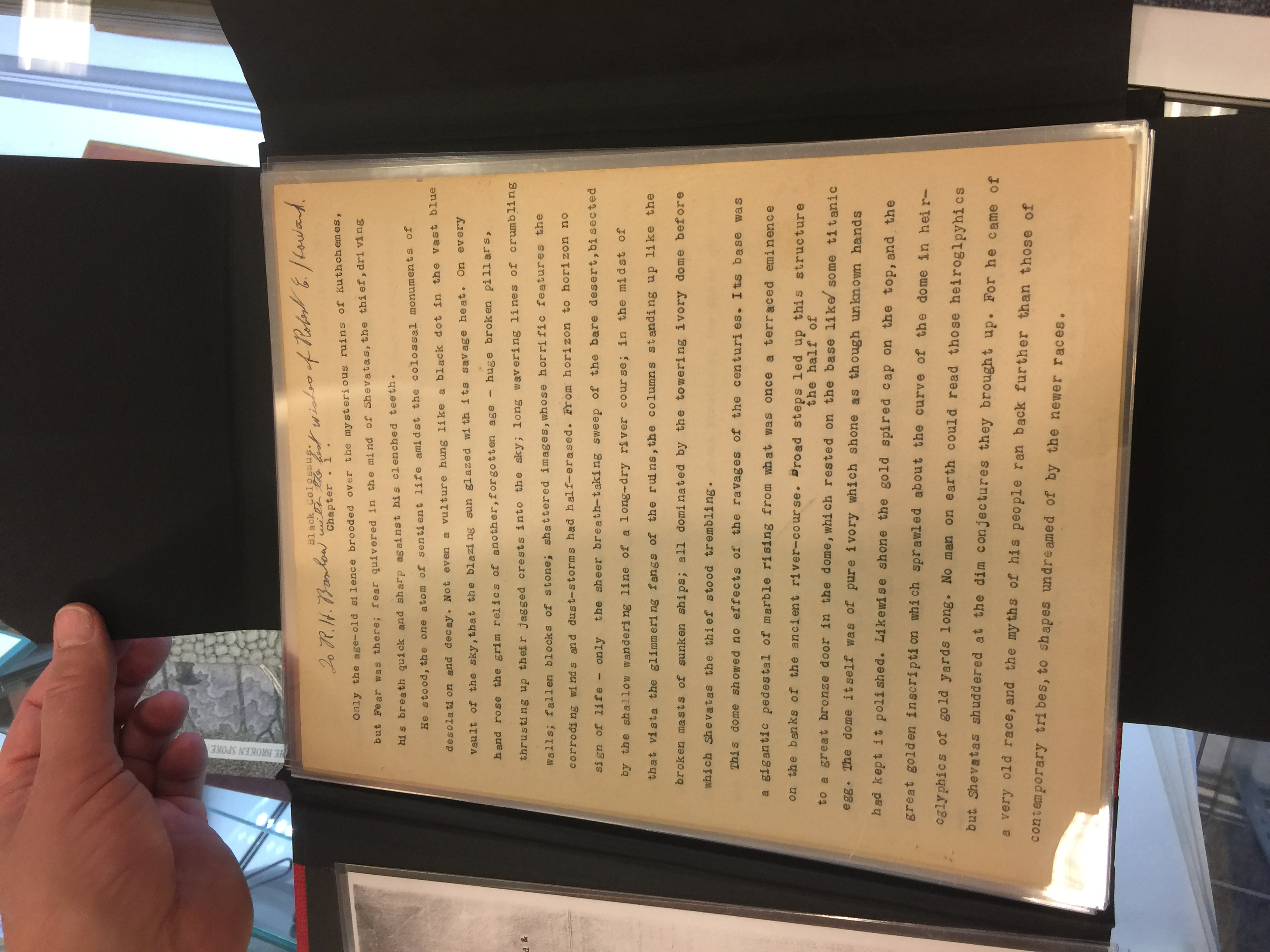 The original typed manuscript for Black Colossus by Robert E. Howard, inscribed to Robert H. Barlow